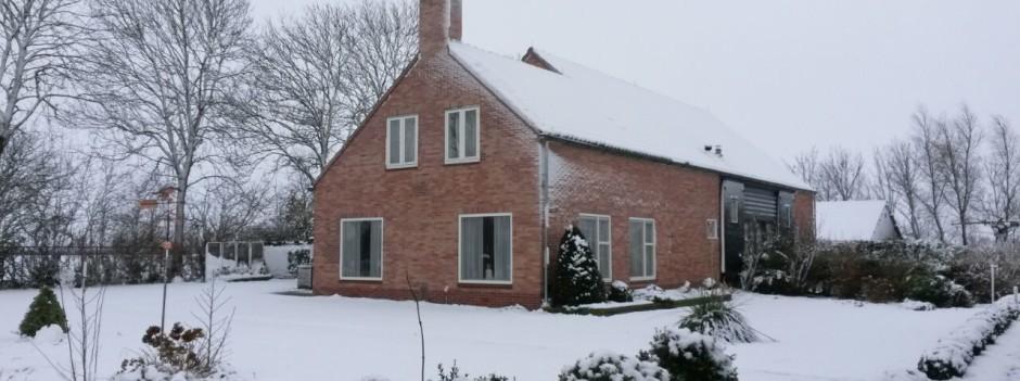 De vakantieboerderij in de winter